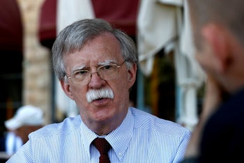 U.S. National Security Advisor John Bolton speaks during an interview with Reuters in Jerusalem  August 21, 2018.