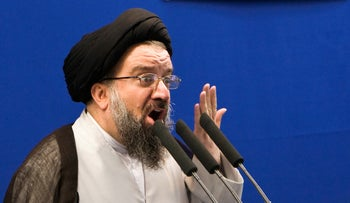 Iranian cleric Ahmad Khatami delivers a sermon during Friday prayers in Tehran July 24, 2009.
