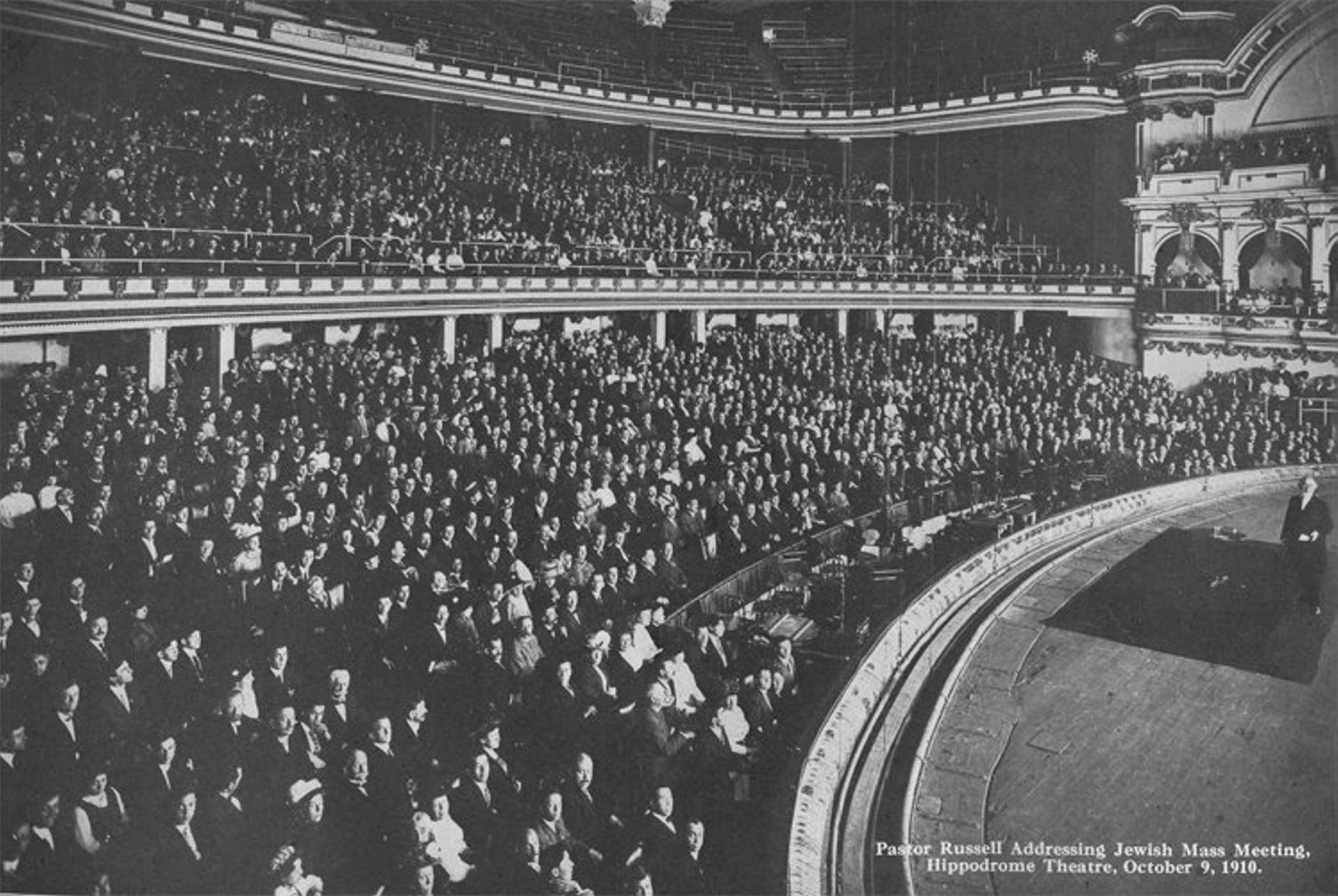 Pastor Russell holding a mass meeting with Jews at NY's Hippodrome theatre