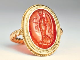 The ring that Sigmund Freud gave to his daughter Anna, now on display at the Israel Museum. She saw it as a symbol of paternal love.