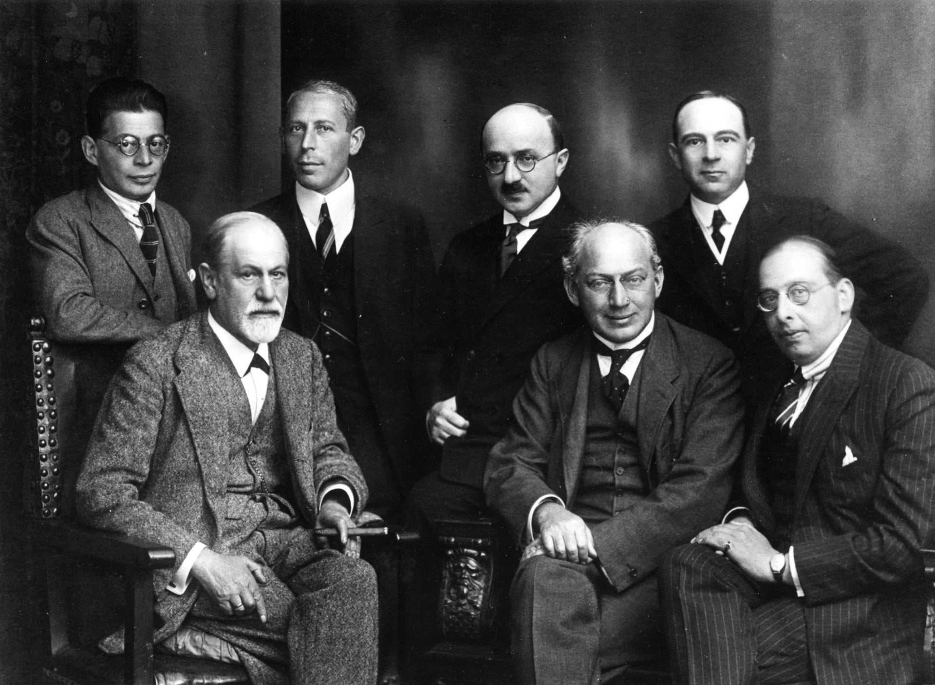 "A 1922 photo of members of the ""secret committee"" Freud created, whose purpose was to demarcate a clear boundary between psychoanalysis worthy of the name and other approaches."