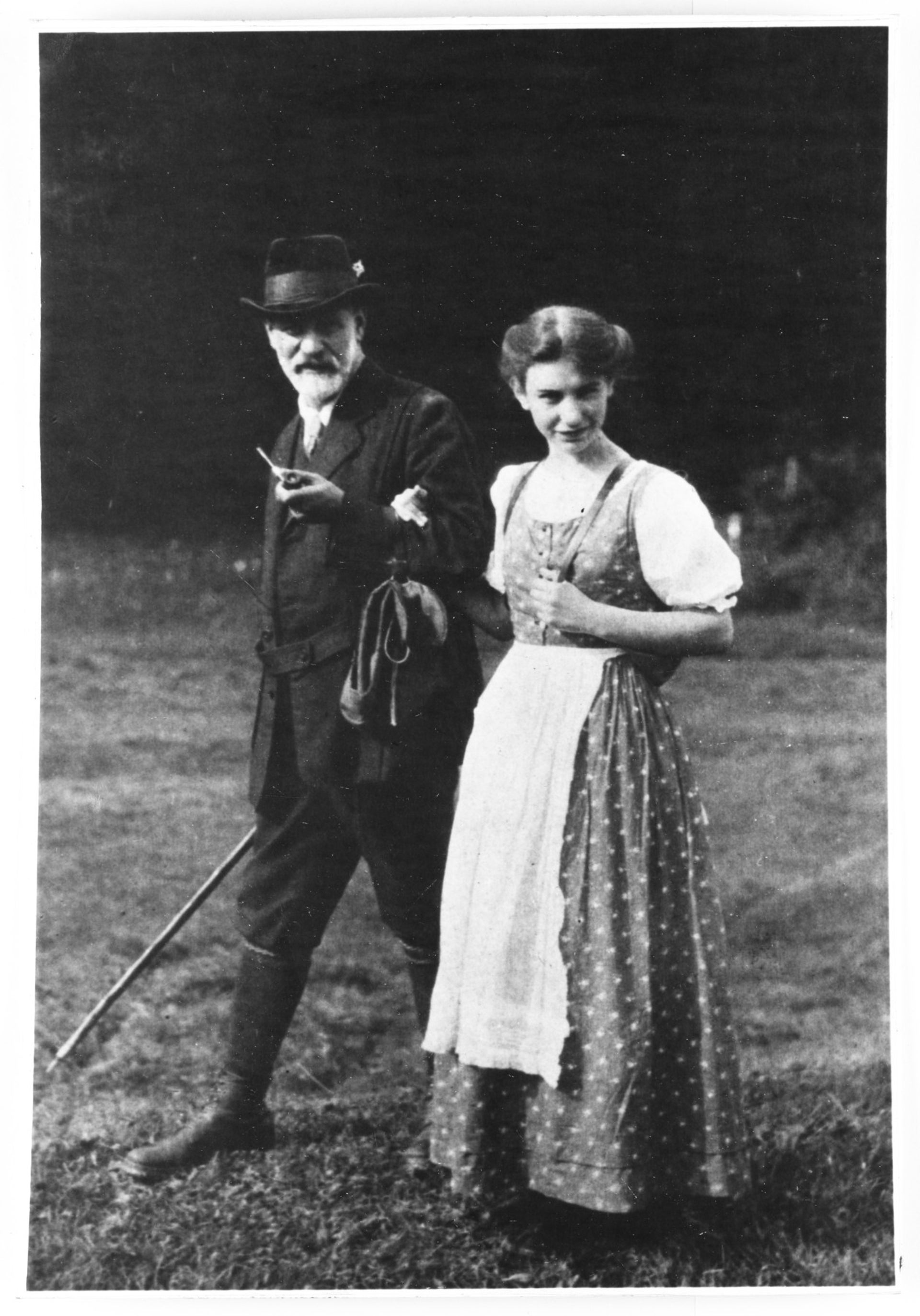 Sigmund Freud and his daughter Anna at the Dolomites in Italy, 1913.