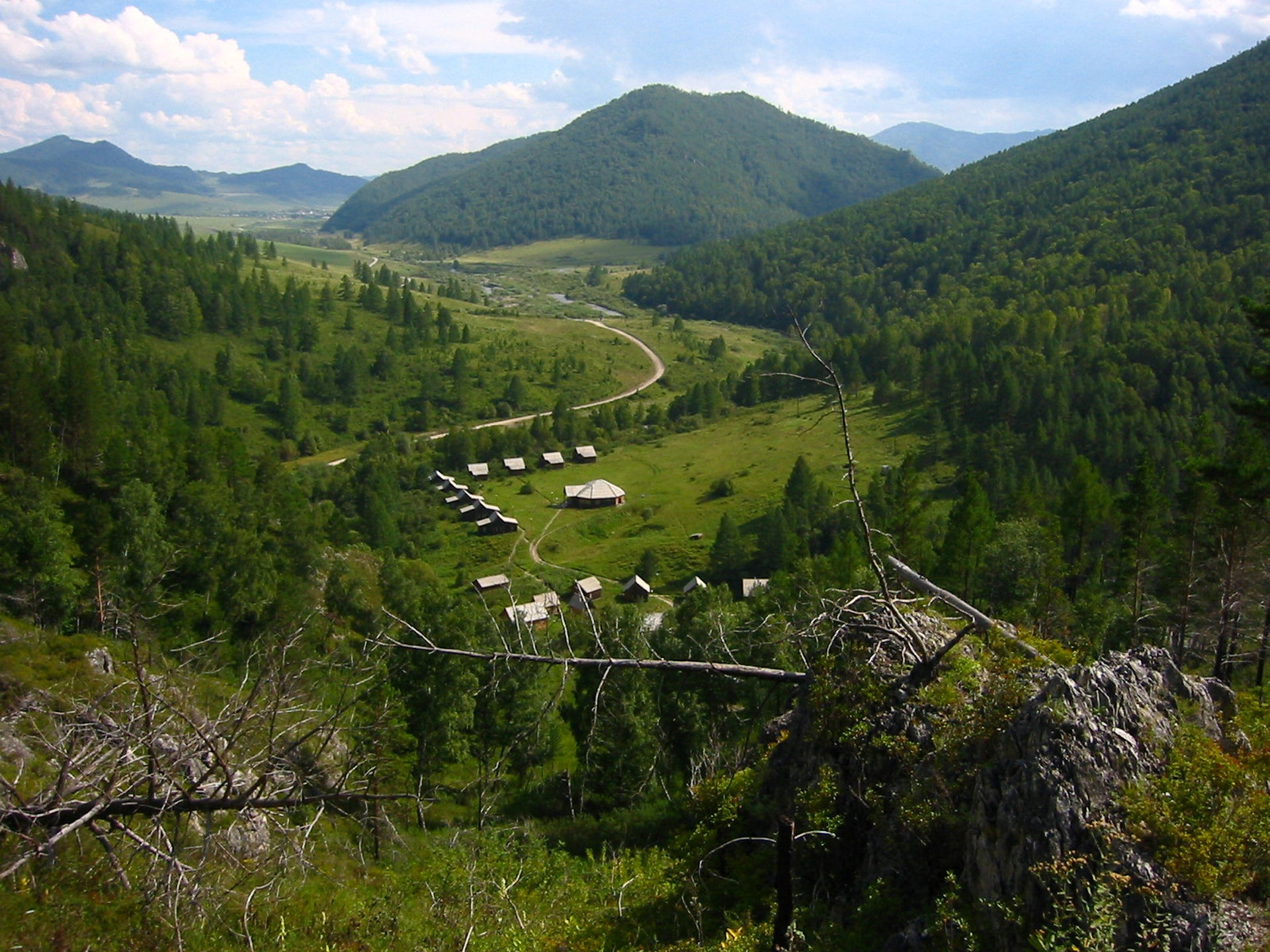 A view of the valley from above the Denisova Cave archaeological site, Siberia, Russia