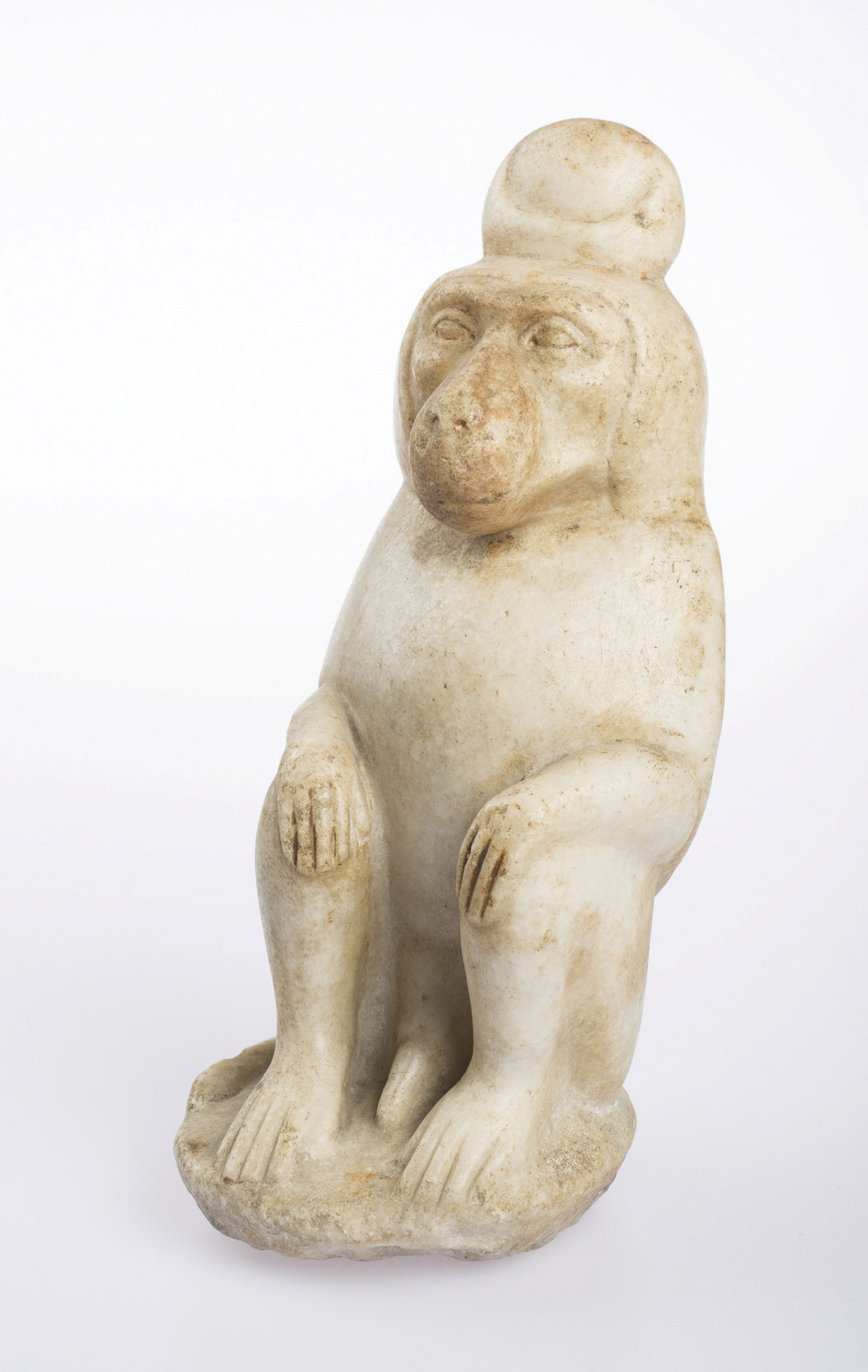 """Baboon of Thoth,"" an Egyptian marble statue from the Roman Period, from Freud's collection."