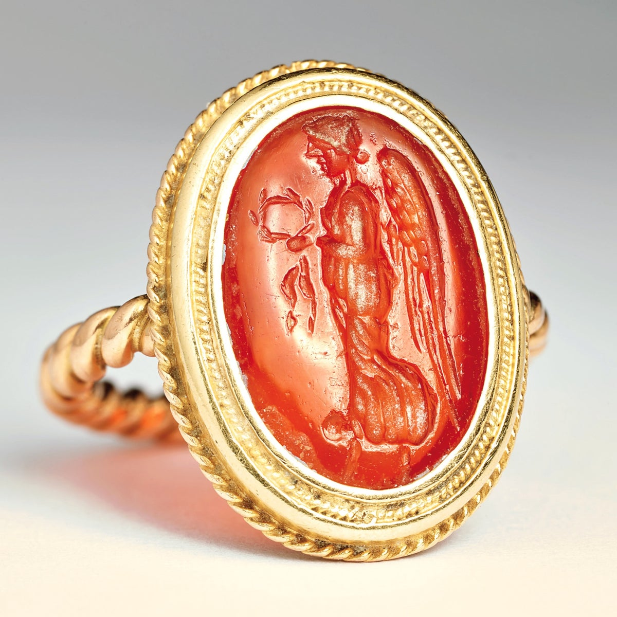 The ring bearing the image of Nike, the goddess of victory, bequeathed to the Israel Museum by Eva Rosenfeld. The magic began to do its work.