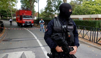 French police secure a street after a man killed two persons and injured an other in a knife attack in Trappes, near Paris, according to French authorities, France, August 23, 2018.