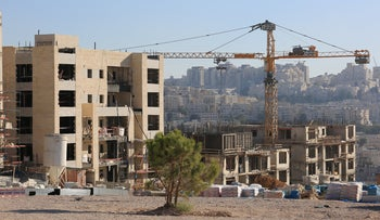 Construction in an Israeli settlement beyond the Green Line, August 15, 2018.