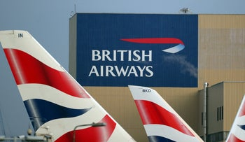 British Airways logos on tail fins at Heathrow Airport in west London, Britain, February 23, 2018.