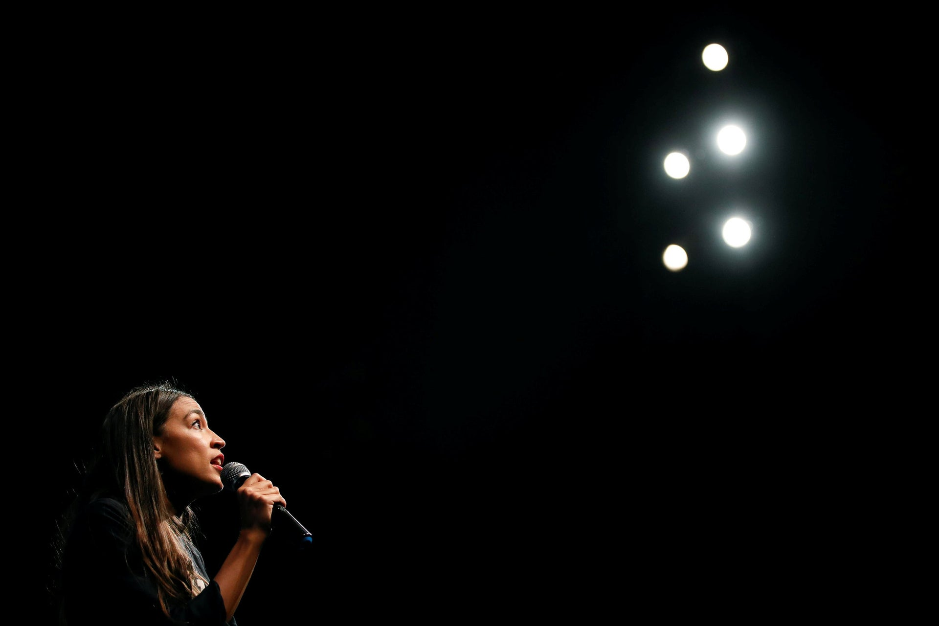 New York congressional candidate Alexandria Ocasio-Cortez addresses supporters at a fundraiser Aug. 2, 2018, in Los Angeles.