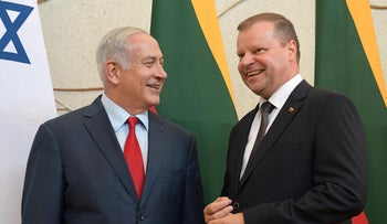 Prime Minister Benjamin Netanyahu meets with Lithuanian Prime Minister Saulius Skvernelis in Vilnius, Lithuania, August 23, 2018.