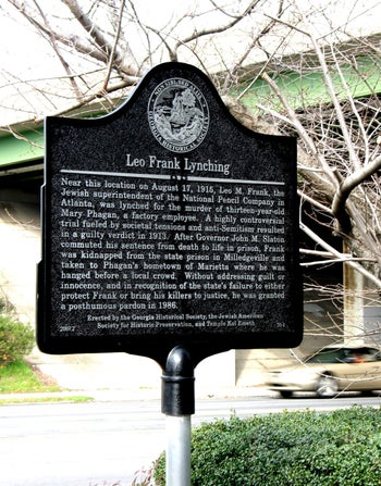 The rededicated plaque remembering Leo Frank, who was lynched in Marietta, Georgia in 1913.