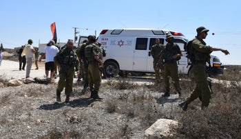 The scene of the incident in South Hebron Hills after the attack, August 25, 2018.