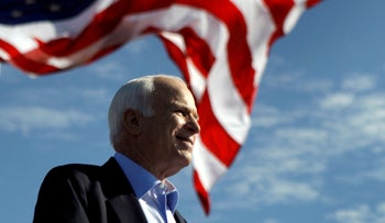 Then-presidential candidate Senator John McCain speaks at a rally in Tampa, Florida, November 3, 2008.