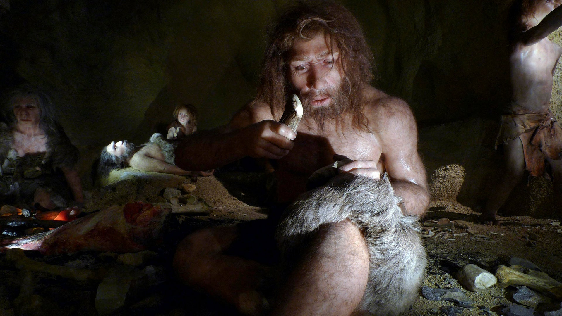 Reconstruction of a Neanderthal family, based on finds in Krapina, Croatia