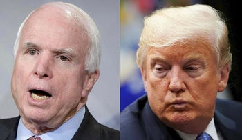 This combination of pictures created on August 24, 2018 shows US Senator John McCain and US President Donald Trump