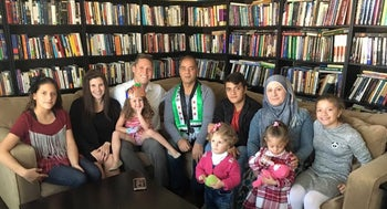 Syrian refugees with Shmuly Yanklowitz and his family during the Thanksgiving holiday.
