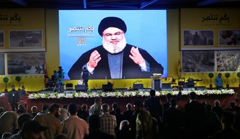 Hassan Nasrallah speaks in Beirut, August 2018.