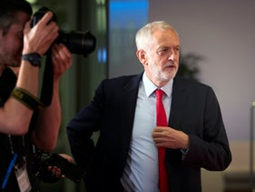 Labour Party leader Jeremy Corbyn arriving to give a press conference in Edinburgh, August 23, 2018.