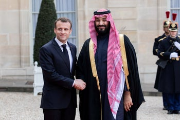 Mohammed bin Salman, Saudi Arabia's crown prince, and Emmanuel Macron, France's president in Paris, France, on Tuesday, April 10, 2018.