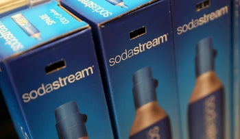 Boxes containing Sodastream products are seen at a shop in London, Britain.