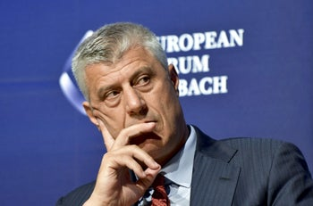 """Kosovar President Hashim Thaci, August 25, 2018. He initially said the Turkish nationals posed a threat to Kosovo's """"national security,"""" but later criticized Turkey's actions."""