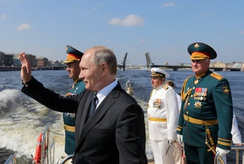 FILE PHOTO: Russian President Vladimir Putin attends the Navy Day parade in St. Petersburg, Russia, July 29, 2018.
