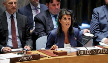 U.S. Ambassador to the United Nations Nikki Haley speaks during a UN Security Council meeting in New York, August 23, 2018.