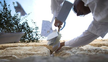 A worker removes notes from cracks at the Western Wall in Jerusalem's Old city, as customary ahead of the Jewish new year August 28, 2018