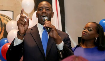 Andrew Gillum after winning the Democrat primary for Florida governor in Tallahassee, August 28, 2018.