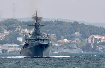 The Russian Navy's frigate Pytlivy, followed by landing ship Nikolai Filchenkov, sails in the Bosphorus, on its way to the Mediterranean Sea, in Istanbul, Turkey, August 24, 2018.