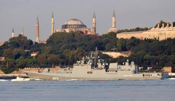 The Russian Navy's frigate Admiral Essen, with the Byzantine-era monument of Hagia Sophia in the background, sails in the Bosphorus, on its way to the Mediterranean Sea, in Istanbul, Turkey August 25, 2018.