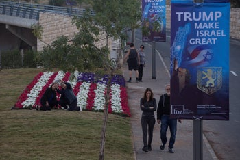 Posters put up by a pro-Trump evangelical group near the relocated U.S. Embassy in Jerusalem. May 11, 2018.
