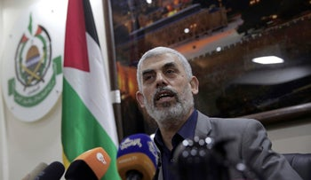 Yehiyeh Sinwar, the Hamas militant group's leader in the Gaza Strip, speaks to foreign correspondents in his office in Gaza City. May 10, 2018.