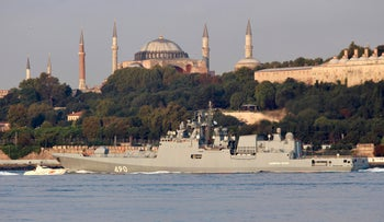 Russian Navy frigate Admiral Essen sails in the Bosphorus, on its way to Syria, in Istanbul, Turkey August 25, 2018