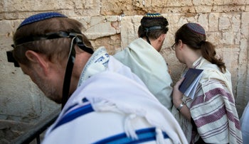 American and Israeli Reform rabbis pray at the Western Wall, Jerusalem, February 25, 2016.