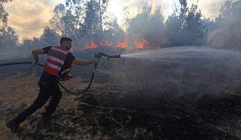 A fire in the Be'eri Forest near Gaza caused by an incendiary kite, June 2018.