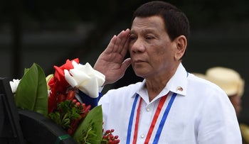 Philippines' President Rodrigo Duterte a ceremony to commemorate the National Heroes' Day at the Heroes Cemetery in Manila on August 27, 2018