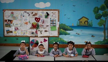 Girls sit inside a classroom at an UNRWA school in Gaza City, August 29, 2018