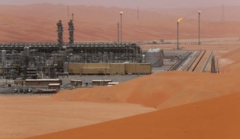 General view of the Natural Gas Liquids facility in Saudi Aramco's Shaybah oilfield at the Empty Quarter in Saudi Arabia, May 22, 2018