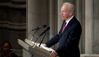 Former Sen. Joseph Lieberman speaks during a memorial services for Sen. John McCain, R-Ariz., at Washington National Cathedral in Washington, Saturday, Sept. 1, 2018