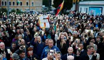 Protesters at an anti-immigrant march in Chemnitz, Germany, August 30, 2018.