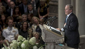 Former U.S. President George W. Bush speaks during a memorial service for late Senator John McCain at Washington National Cathedral in Washington, D.C., U.S., on Saturday, Sept. 1, 2018