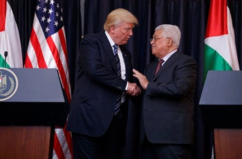 President Donald Trump meeting with Palestinian President Mahmoud Abbas in Bethlehem, May 2017.