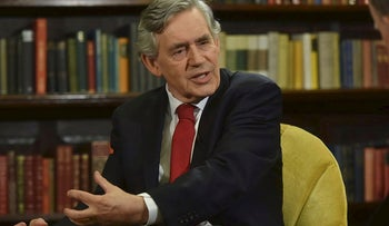 Britain's ex-Prime Minister Gordon Brown appears on the Marr Show on BBC television in London, Britain, June 10, 2018. Picture taken June 5, 2018.
