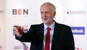 Britain's opposition Labour Party leader Jeremy Corbyn faces the media after delivering the Alternative MacTaggart lecture exploring the role of the media, at the Edinburgh Television Festival in Edinburgh, Scotland, Thursday Aug. 23, 2018.