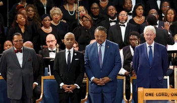 Louis Farrakhan, from left, Rev. Al Sharpton, Rev. Jesse Jackson and former President Bill Clinton attend the funeral service for Aretha Franklin at Greater Grace Temple, Friday, Aug. 31, 2018, in Detroit