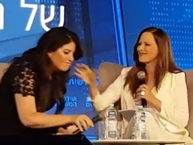 Screen capture from Yonit Levi interview with Monica Lewinsky, September 3, 2018.
