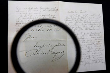A letter by German anti-Semitic composer Richard Wagner warning of Jewish influence in culture on display at the Kedem auction house, Jerusalem. April 16, 2018.
