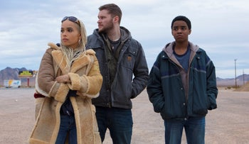 "This image released by Lionsgate shows Zoe Kravitz, from left, Jack Reynor and Myles Truitt in a scene from ""Kin."""