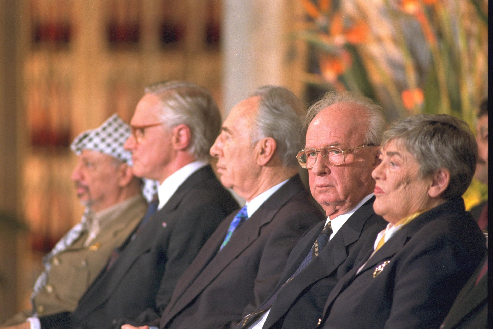 Nobel peace prize laureates Yasser Arafat, Shimon Peres and Yitzhak Rabin during the award ceremony in Oslo, 1994.